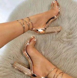 Shoes - 💫LAST PAIR!! Rhinestone Rose Gold Heel